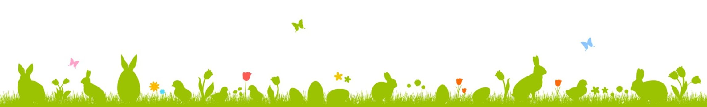 Banner with Easter eggs, rabbits, chickens and flowers. Silhouettes on a white background. Easter banner.