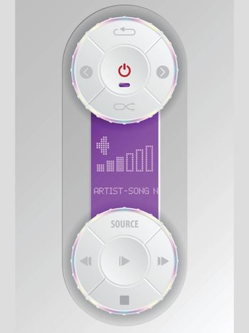 Compact audio control panel design in white with purple lcd