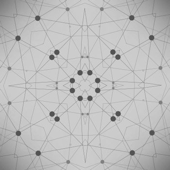 Grey Technology Background with Particle, Molecule Structure. Genetic and Chemical Compounds. Communication Concept. Space and Constellations.