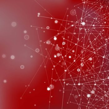 Red Technology Background with Particle, Molecule Structure. Genetic and Chemical Compounds. Communication Concept. Space and Constellations.