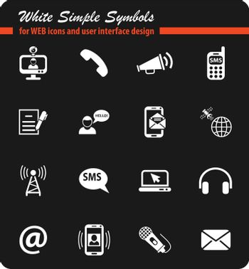 communication white simple symbols for web icons and user interface design
