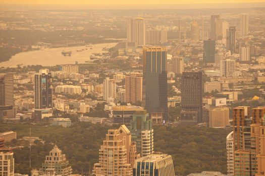 View of Bangkok City Thailand on sunset
