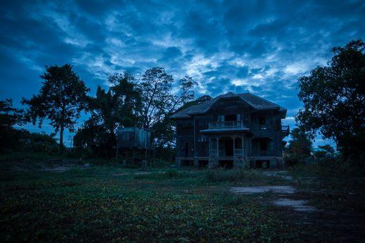 abandoned old house on twilight