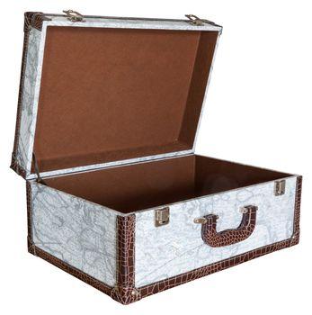 Open empty vintage white suitcase isolated on white background