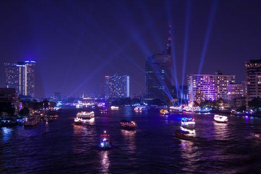 Chao Phraya river and city at twilight of Bangkok, Thailand