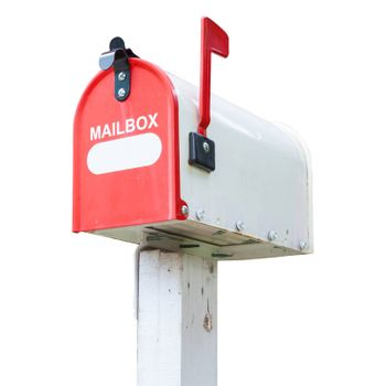 Vintage mail box isolated on white background