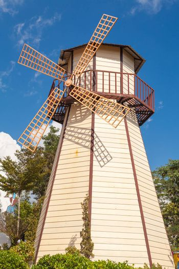Close up of Windmill with blue sky in Thailand
