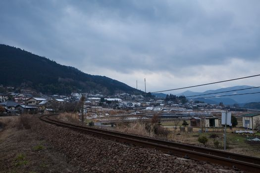 Small village with mountain in Yufuin, Japan