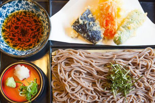 Japanese food Soba noodle with fried shrimp