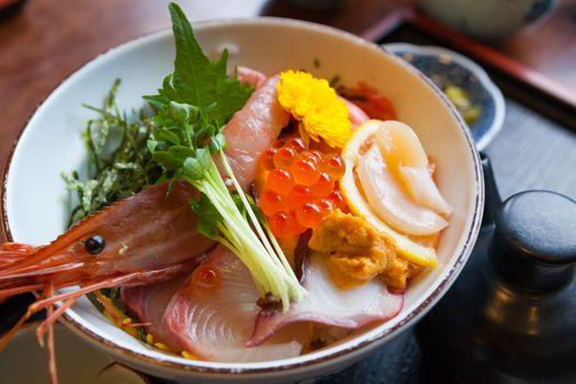Japan food sashimi on the rice