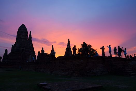 Tourists taking photo temple, Wat Chaiwattanaram Thailand