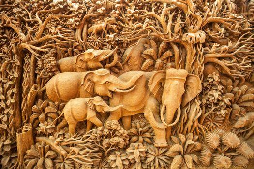 Carved Thai elephant on the wood