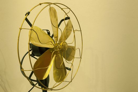 Beautiful vintage gold antique brass fan