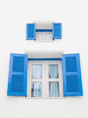 Santorini Greek style blue closed open windows
