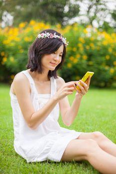 Woman using mobile smart phone