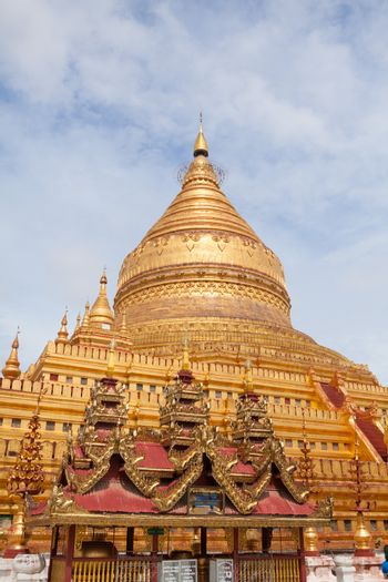 The golden Shwezigon Pagoda in Bagan, Myanmar