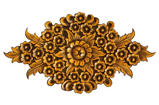 Pattern of wood carve flower on white background