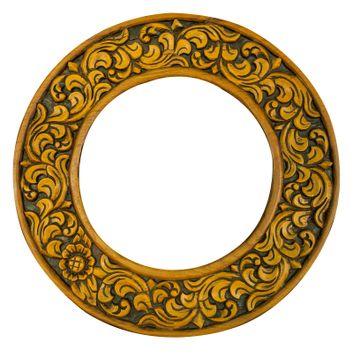 carved oval wood frame isolated on white background