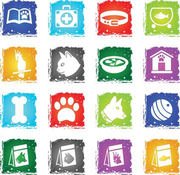goods for pets web icons in grunge style for user interface design