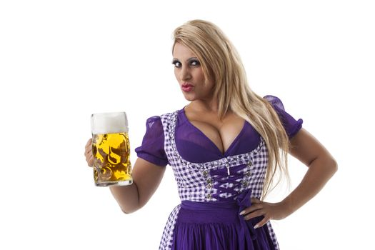 bavarian woman with a beer