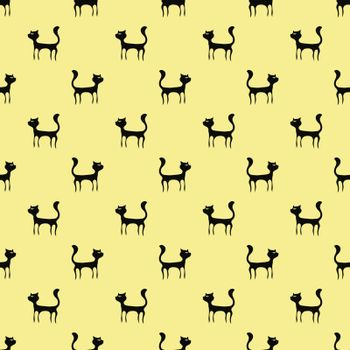 Black Cats Seamless Pattern. Animal Pets Silhouettes  Background.