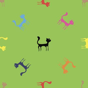 Colorful Cats Seamless Pattern. Animal Pets Silhouettes  Background.