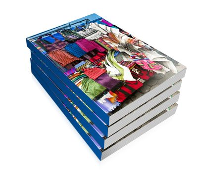 book of  colorful indigenous market of Otavalo