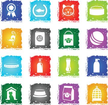 goods for pets vector web icons in grunge style for user interface design