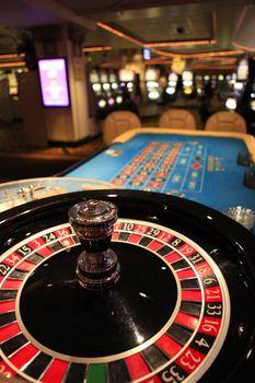 Roulette wheel in casino