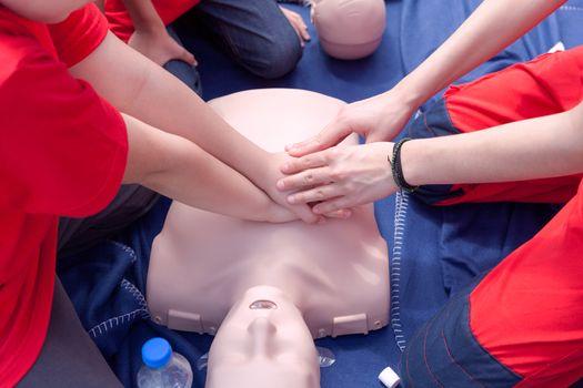 Cardiopulmonary resuscitation - CPR class. First aid training.