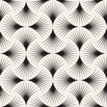 Vector Seamless Black and White Arc Lines Grid Pattern. Abstract Geometric Background Design