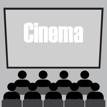 People watching movie at cinema hall, Vector illustration
