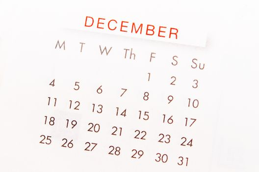 December calendar page.