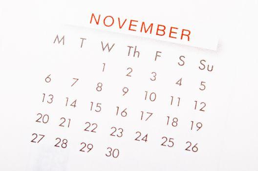 November calendar page.