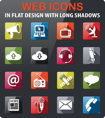 communication icons set in flat design with long shadow