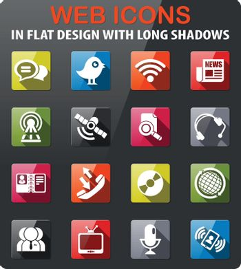 community icons set in flat design with long shadow