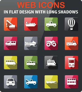 Transportation icons set in flat design with long shadow