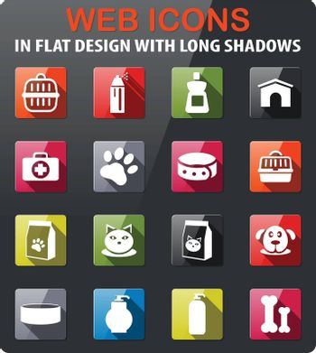 goods for pets icons set in flat design with long shadow