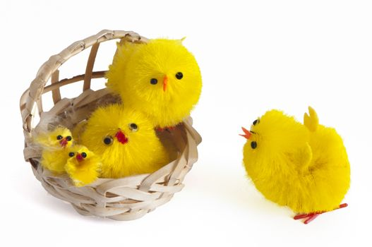 Easter decorations with chicks, bunnies and eggs