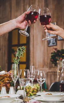 Couple toasting wine