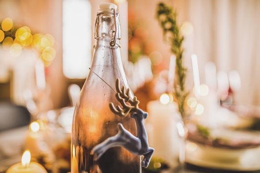Deer and bottle decorations