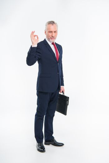 Smiling businessman holding briefcase and showing ok sign