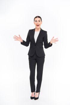 Shocked businesswoman gesturing