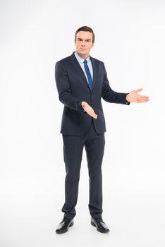 Professional businessman gesturing