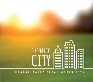 Ecologically clean green city. Vector illustration on a nature background
