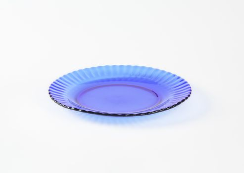 Blue glass salad plate