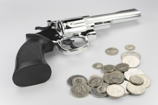 Conceptual representation of obtained money through criminal activities as a background picture.