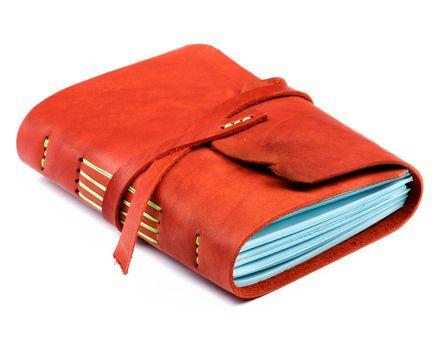 Luxury Handmade Leather Orange Notepad with Blue Paper isolated on White background