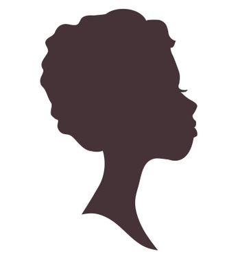 Silhouette of young woman head. Lovely girl. Pretty face.