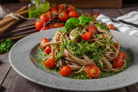 Pasta with basil pesto and parmesan